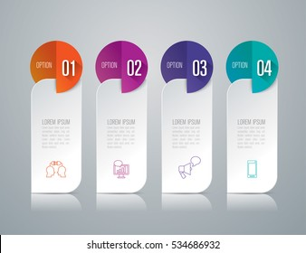 Infographic design vector and marketing icons can be used for workflow layout, diagram, annual report, web design. Business concept with 4 options, steps or processes.