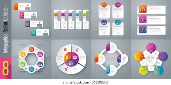 Infographic design vector and marketing icons can be used for workflow layout, diagram, annual report, web design. Business concept with 3, 4, 5 and 6 options, steps or processes.
