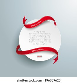 Infographic design white circle and long red flag on the grey background. Eps 10 vector file.