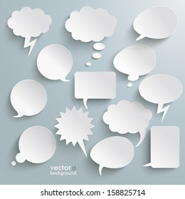 Infographic design with white communication bubbles on the grey background. Eps 10 vector file.