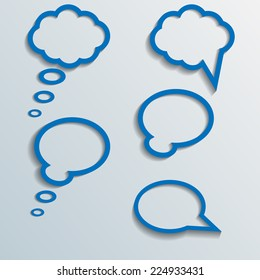 Infographic design with white communication bubbles on the grey background