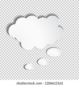 Infographic design white paper thought bubble on the checked background. Eps 10 vector file.