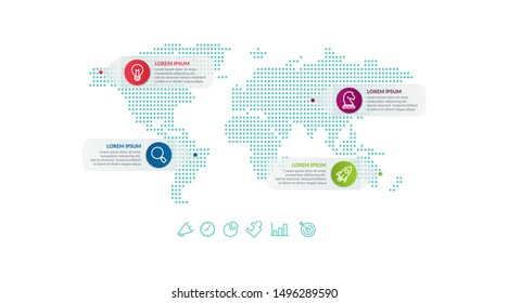 Infographic design with world map background. business infographic concept for presentations, banner, workflow layout, process diagram, flow chart and how it work