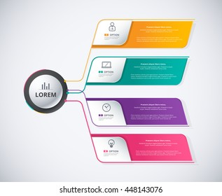 Infographic diagram 4 color of choice background. Organization diagram for business corporate. included sample text position. vector stock.