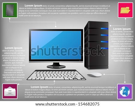 infographic diagram desktop computer pc technology stock vectorinfographic diagram with desktop computer pc, technology and business concept, vector illustration eps 10