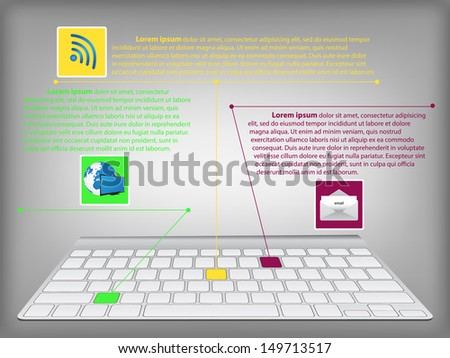 infographic diagram with desktop keyboard, technology and business concept,  vector illustration eps 10
