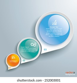Infographic with drop shapes on the gray background. Eps 10 vector file.