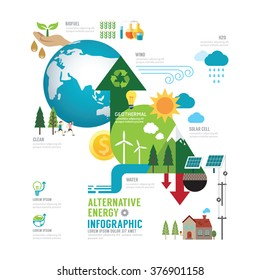 Infographic eco energy of the world concept with icons vector