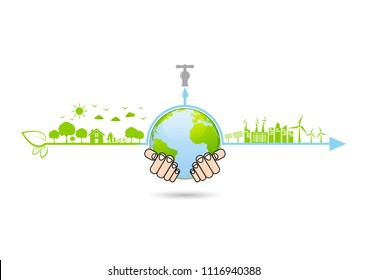 Infographic for Ecology friendly, World environment and sustainable development concept, vector illustration