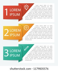 Infographic element with 3 options, list, part, processes, or steps. Vector template for business, presentation, workflow, web design, brochures, flyers,  concept, etc.