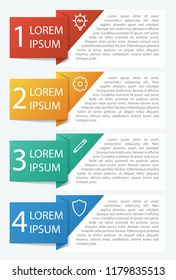 Infographic element with 4 options, list, part, processes, or steps. Vector template for business, presentation, workflow, web design, brochures, flyers,  concept, etc.