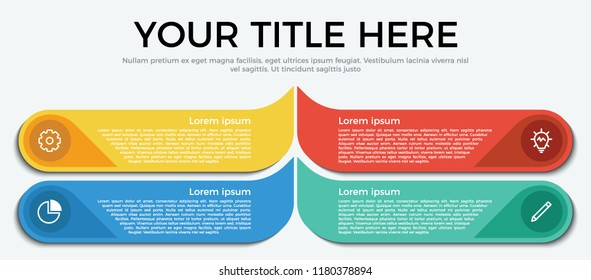 infographic element with 4 options, step, list, part and icons. use for business, presentation, brochure, flyer, abstract, workflow, timeline concept vector template flat style eps 10.