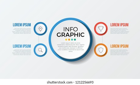 infographic element with 4 options, steps, parts. use for business, presentation, brochure, flyer, abstract, workflow, timeline, concept, vector template eps 10.