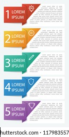 Infographic element with 5 options, list, part, processes, or steps. Vector template for business, presentation, workflow, web design, brochures, flyers,  concept, etc.