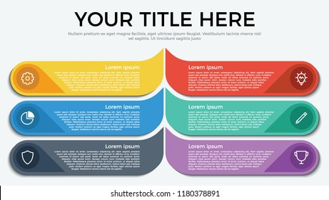 infographic element with 6 options, step, list, part and icons. use for business, presentation, brochure, flyer, abstract, workflow, timeline concept vector template flat style eps 10.