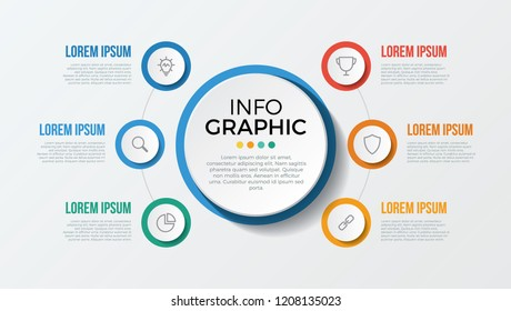 infographic element with 6 options, steps, parts. use for business, presentation, brochure, flyer, abstract, workflow, timeline, concept, vector template eps 10.