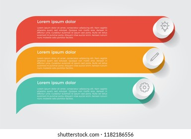 infographic element, business presentation template with 3 options, steps, lists, rows, or parts.