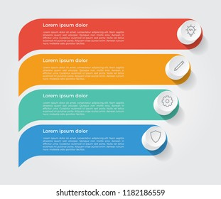 infographic element, business presentation template with 4 options, steps, lists, rows, or parts.