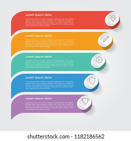 infographic element, business presentation template with 5 options, steps, lists, rows, or parts.