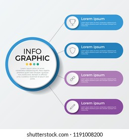 infographic element. business presentation template with 4 options, steps, or proccesses.