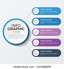 infographic element. business presentation template with 5 options, steps, or proccesses.