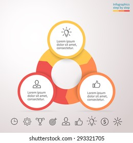 Infographic element. Chart, graph, diagram with 3 steps, options, parts, processes, phase. Vector business template for presentation and training.