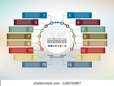 Infographic element data for business.  abstract banner element.  16-steps concept. can be used web design or presentation.  vector illustration background