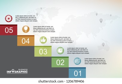 Infographic element data for business.  abstract banner element.  5-steps concept. can be used web design or presentation.  vector illustration background