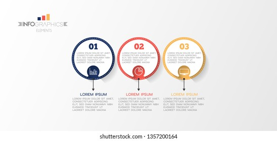 Infographic element with icons and 3 options or step. Can be used for process, presentation, diagram, workflow layout, info graph, web design. Vector illustration.