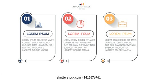 Infographic element with icons and 3 options or steps. Can be used for process, presentation, diagram, workflow layout, info graph, web design. Vector illustration.