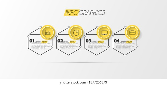Infographic element with icons and 4 options or step. Can be used for process, presentation, diagram, workflow layout, info graph, web design. Vector illustration.
