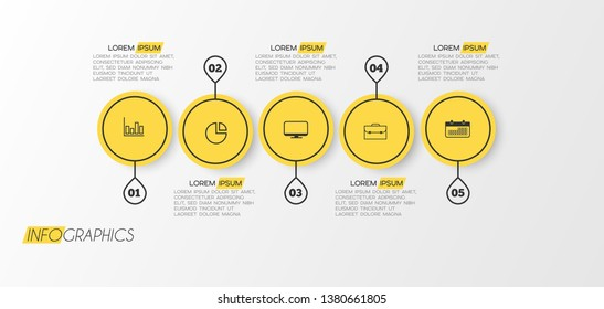 Infographic element with icons and 5 options or step. Can be used for process, presentation, diagram, workflow layout, info graph, web design. Vector illustration.