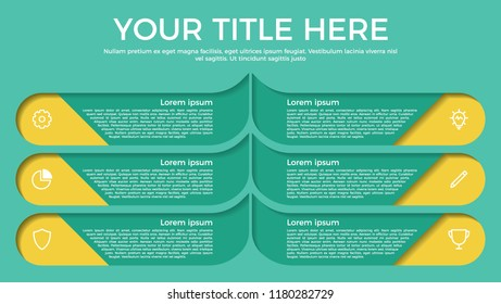 infographic element with paper cut style with 6 options, steps, processes, list, or parts and icons. vector template for business, presentation, workflow, brochure, flyer, concept, timeline, etc.