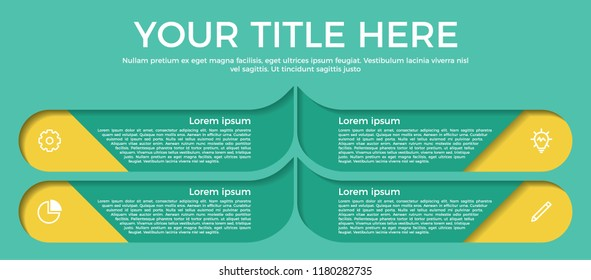 infographic element with paper cut style with 4 options, steps, processes, list, or parts and icons. vector template for business, presentation, workflow, brochure, flyer, concept, timeline, etc.