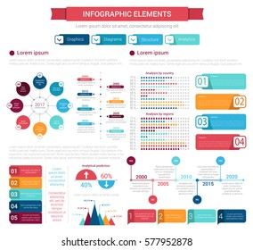 Infographic element set. Bar graph, percent chart, timeline, step and option diagram, objects with text layout. Business infographic template for presentation, report design