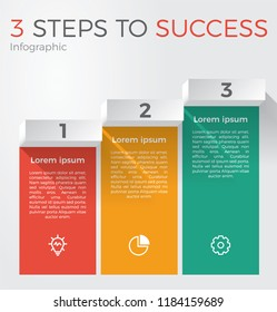 infographic element template vector with 3 steps for business presentation, brochure, flyer, etc.