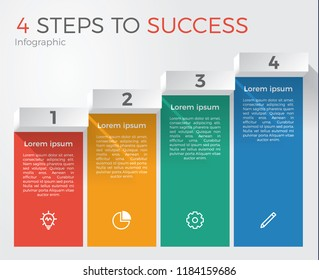 infographic element template vector with 4 steps for business presentation, brochure, flyer, etc.