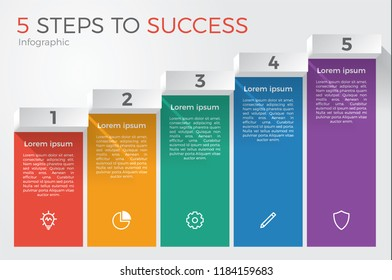 infographic element template vector with 5 steps for business presentation, brochure, flyer, etc.