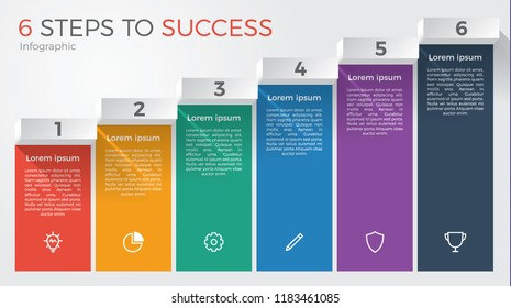 infographic element template vector with 6 steps for business presentation, brochure, flyer, etc.