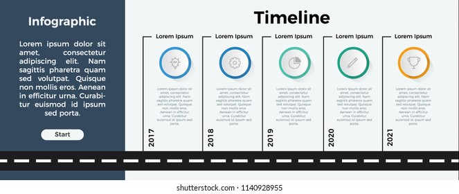 infographic element template vector. can be used for timeline, step, process, workflow layout, annual report, business presentation. 5 options.