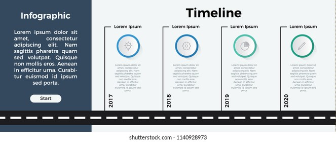 infographic element template vector. can be used for timeline, step, process, workflow layout, annual report, business presentation. 4 options.
