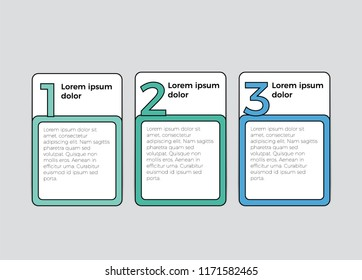 infographic element vector with 3 boxes for list, timeline, business presentation, etc.