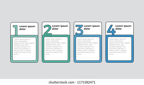 infographic element vector with 4 boxes for list, timeline, business presentation, etc.