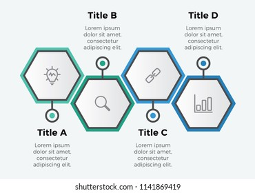 infographic element vector with 4 options hexagon shaped. can be used for timeline, step, process, workflow layout, annual report, business presentation template .