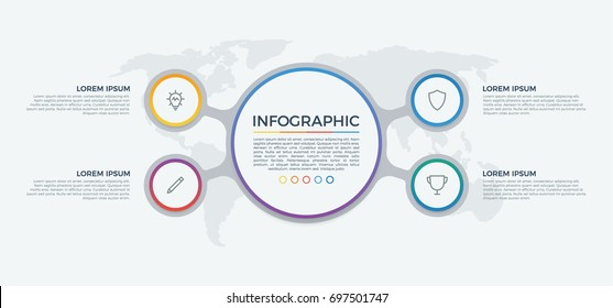 infographic element vector with 4 options, list, steps, circles, can be used for workflow, diagram, banner, process, business presentation template, timeline, report. light theme.