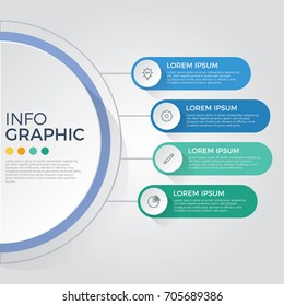 infographic element vector with 4 options, steps, list, process can be used for workflow, diagram, banner, business presentation template, timeline, report.