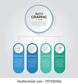 infographic element vector with 4 options, can be used for step, workflow, diagram, banner, process, business presentation template, web design, price list, timeline, report.
