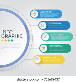 infographic element vector with 5 options, steps, list, process can be used for workflow, diagram, banner, business presentation template, timeline, report.
