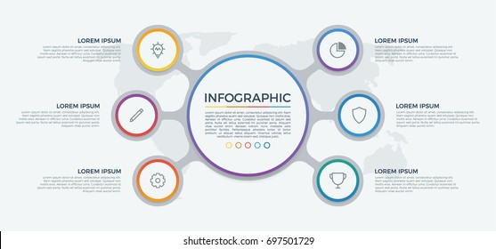 infographic element vector with 6 options, list, steps, circles, can be used for workflow, diagram, banner, process, business presentation template, timeline, report. light theme.