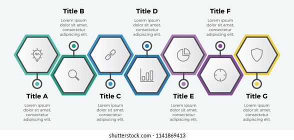 infographic element vector with 7 options hexagon shaped. can be used for timeline, step, process, workflow layout, annual report, business presentation template .